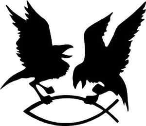 Aufkleber Odins Raben Hugin & Munin greifen den Fisch, schwarz