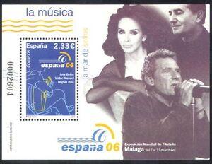 Spain-2006-Music-Singers-Guitar-Singing-Arts-People-StampEx-1v-m-s-n39684