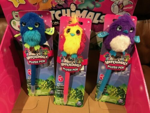 (3X) *New* Hatchimals Colleggtibles-Plush Pens each with different-colored ink !