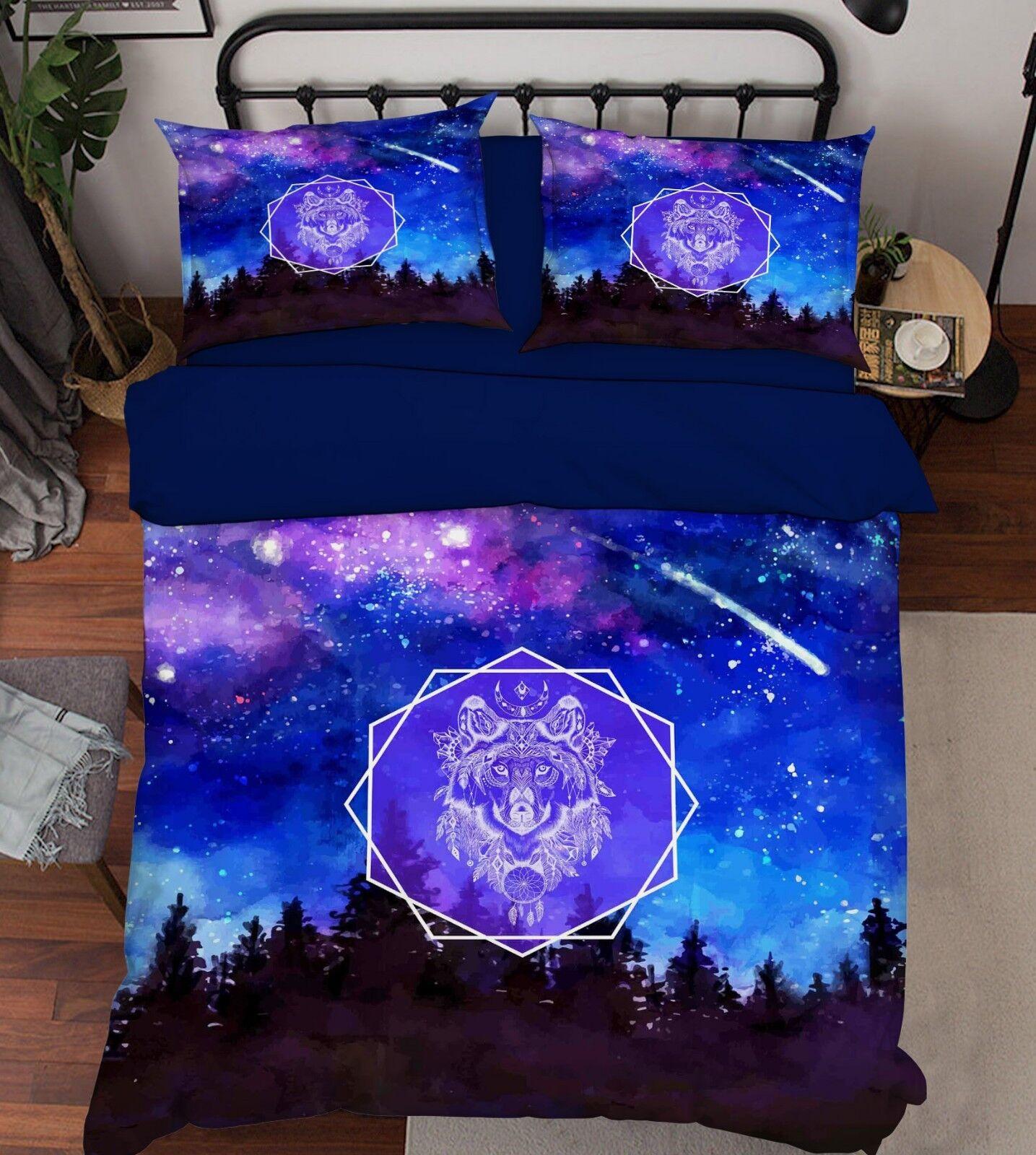 3D Star Animal Sky 89 Bed Pillowcases Quilt Duvet Cover Set Single Queen King CA