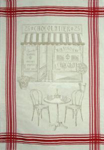 French Kitchen Dish Tea Towel Jacquard Chocolate Store 100 Cotton