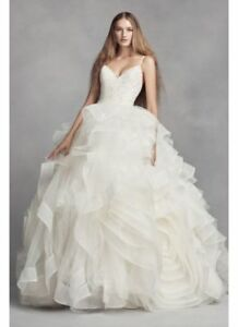 Image Is Loading White By Vera Wang Organza Rosette Wedding Dress