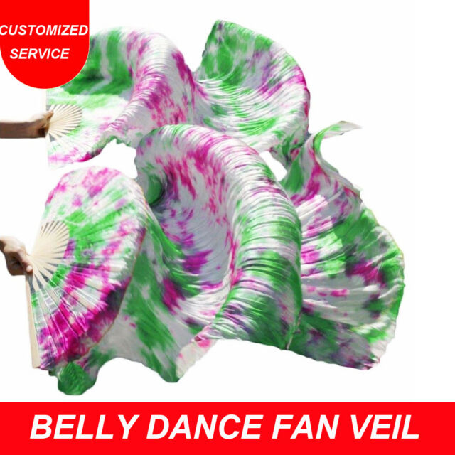 1.5m bamboo fan US Shipping 100/% silk belly dance fan veils 1 pair left+right
