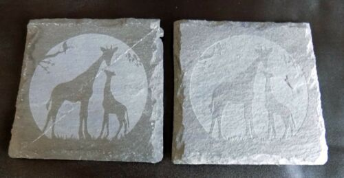 """New hand etched /""""GIRAFFE COASTER/"""" 2 or 4 Can buy 1 Original Gift Idea!"""
