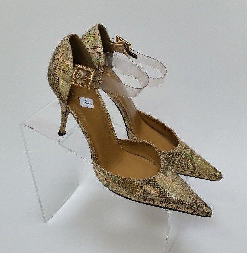 moda classica Stuart Weitzman Weitzman Weitzman scarpe Heels Pumps Snake Skin oro Shimmer donna Dimensione 7.5 B  forniamo il meglio