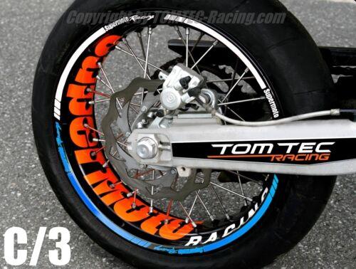 Wheel Sticker Supermoto Suzuki DR 125 650 DRZ 400 SM RMZ 250 450 Rim Decals Tape