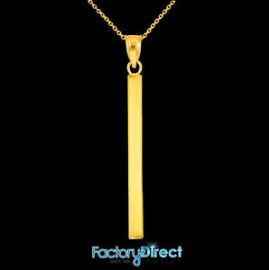 10k 14K Solid White Gold Straight Vertical Bar Necklace.
