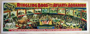 XL-Format-HiQ-Facsimile-1898-Ringling-Bros-Circus-Poster-Aviary-amp-Aquarium-36x13