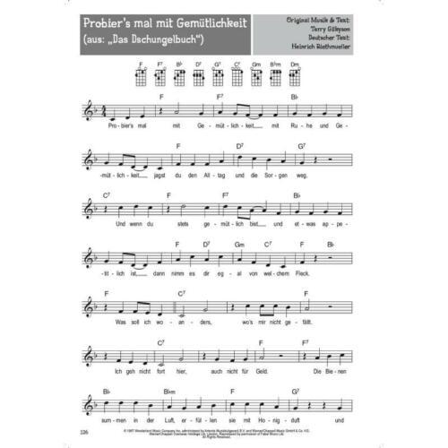 100 Kinderlieder für Ukulele Noten und herzförmige Notenklammer 7780
