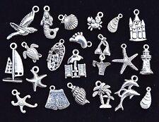 20pcs FUN ON THE BEACH CHARM SET, 14MM TO 24MM, Tibetan Silver, shell starfish