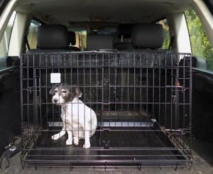 Cage d'animal familier se pliante en métal de botte de voiture avec la garde en pente simple / jumeau conception de chien / garde de chiot