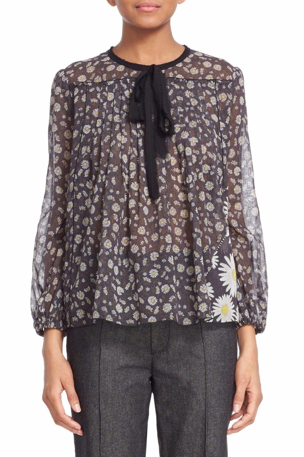 NWT Marc Jacobs Daisy Print Peasant Sheer 100% Cotton Blouse Tie Neck Top Größe 8