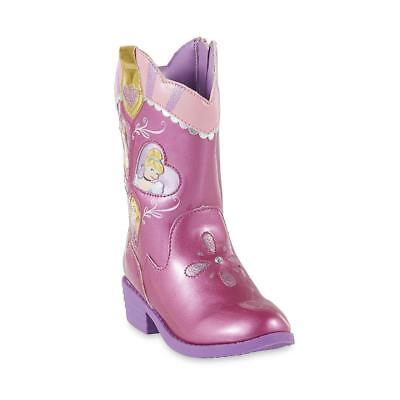 Disney Princess Pink Sparkle Western Cowgirl Rodeo Toddler Girl Boots NWTGS