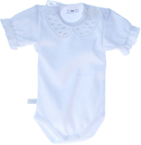 Body Baby Gr 50-98 Kurzarm Spitzen Kragen Taufe Weiß festlich Sommer NEU