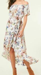 O-039-Neill-CONNIE-Womens-100-Viscose-Flowy-Midi-Dress-Small-Naked-Floral-NEW