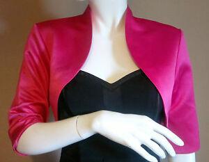 Pink-Satin-Bolero-Shrug-Jacket-Stole-Shawl-Wrap-Tippet-3-4-Sleeve-Lined-UK-4-24