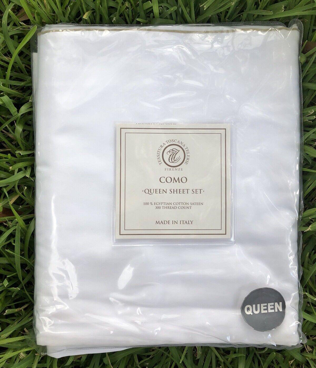 Tessitura Toscana Telerie Como 300 Egyptian Cotton Sateen Queen Sheet Set Weiß