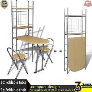 Image Is Loading New Foldable Breakfast Bar Set With 2 Chairs