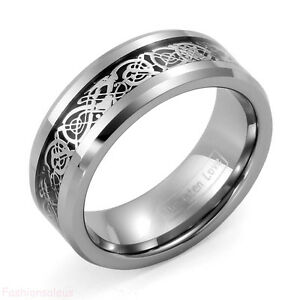 8mm-Celtic-Dragon-Inlay-Tungsten-Carbide-Band-Men-039-s-Ring-New