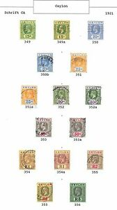 Ceylon stamps 1921 Collection of 15 stamps CANC/MLH VF
