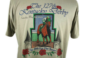 VTG-127th-Kentucky-Derby-May-5th-2001-T-shirt-Monarchos-Run-for-the-Roses-XL