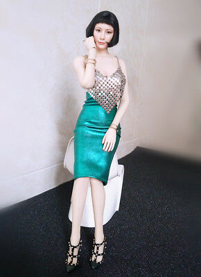 "Custom 1:6 Figure Clothing Silver Metal Coat Green Dress  For 12/"" Female Body"