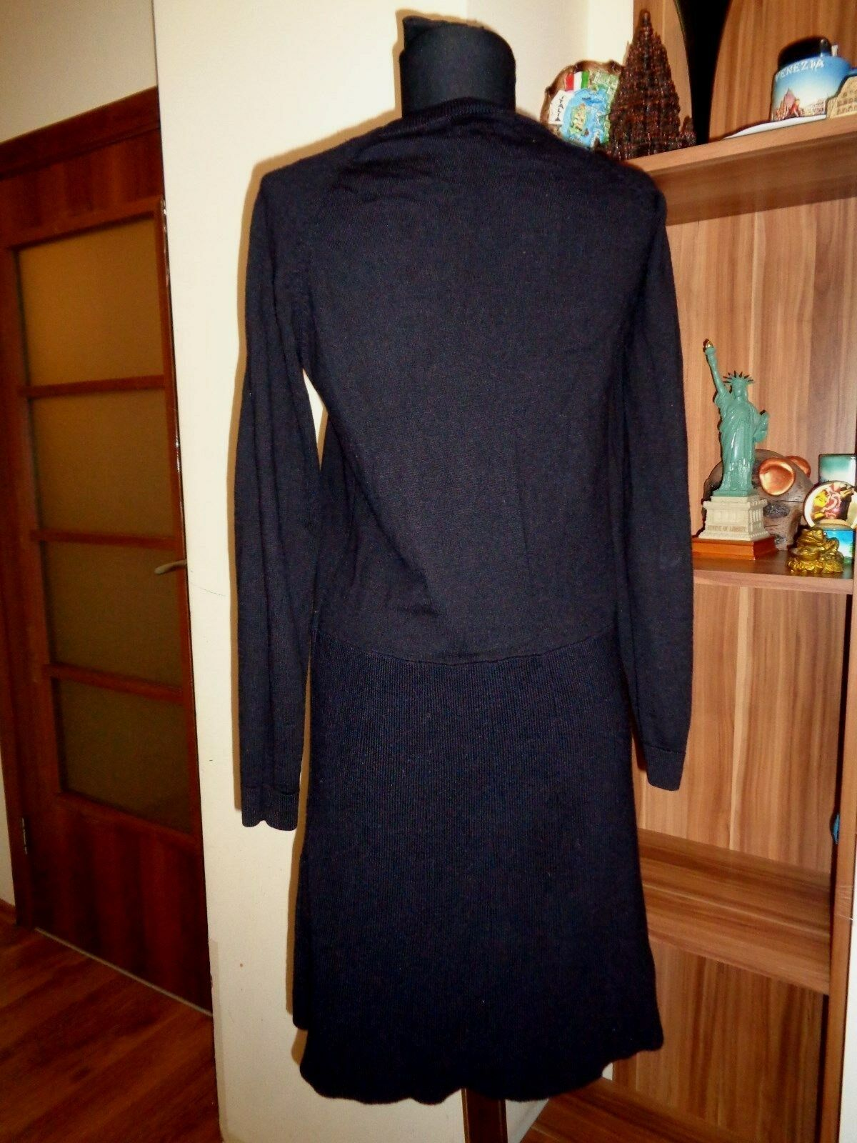 COS VERY VERY VERY DARK INDIGO 100%MERINO WOOL KNITTED PANELED TUNIC DRESS-SIZE XS 6f5112