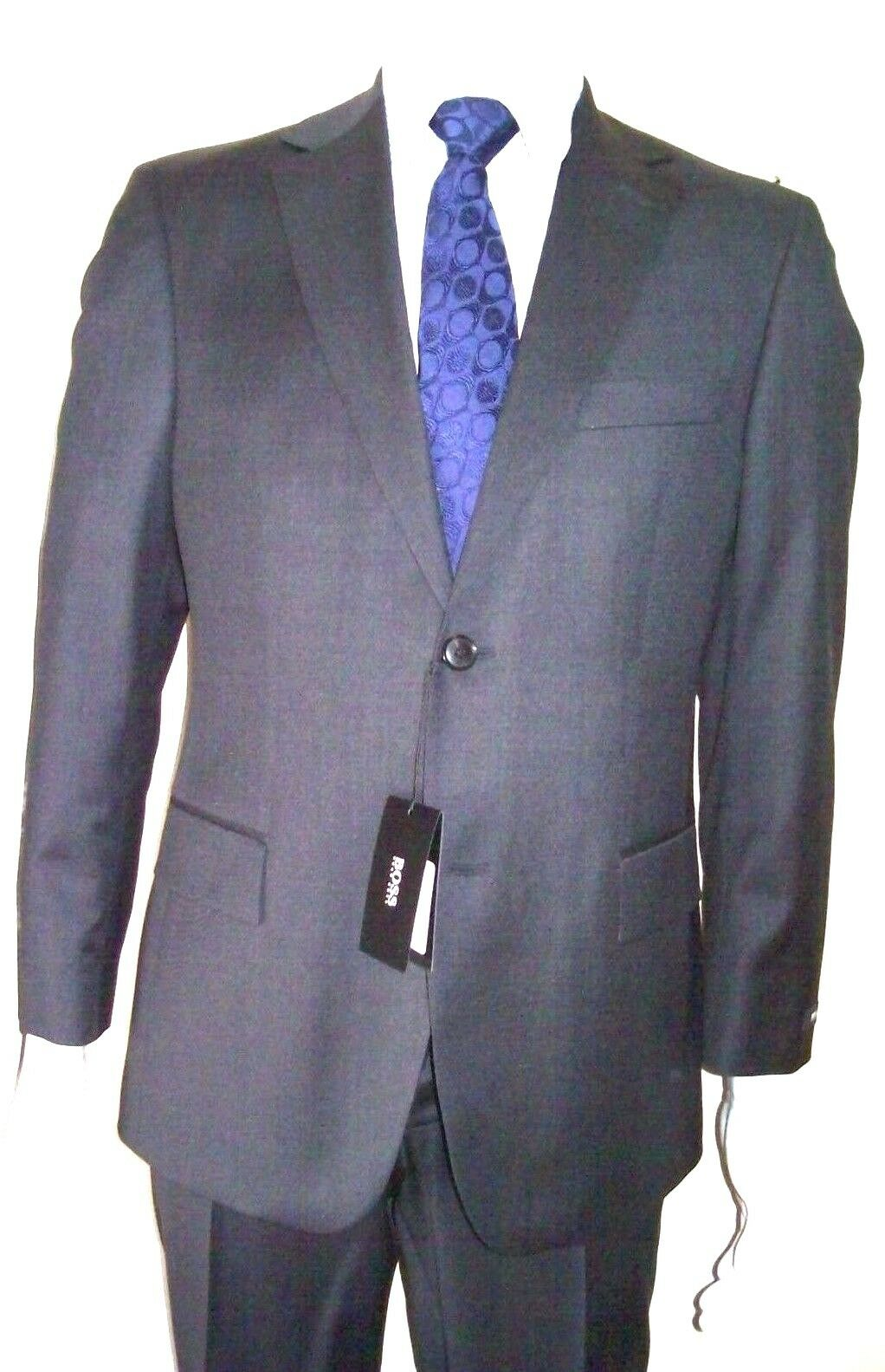 42L Suit Sup 100's Charcoal grey Hugo Boss Made USA 100% virgin wool Org