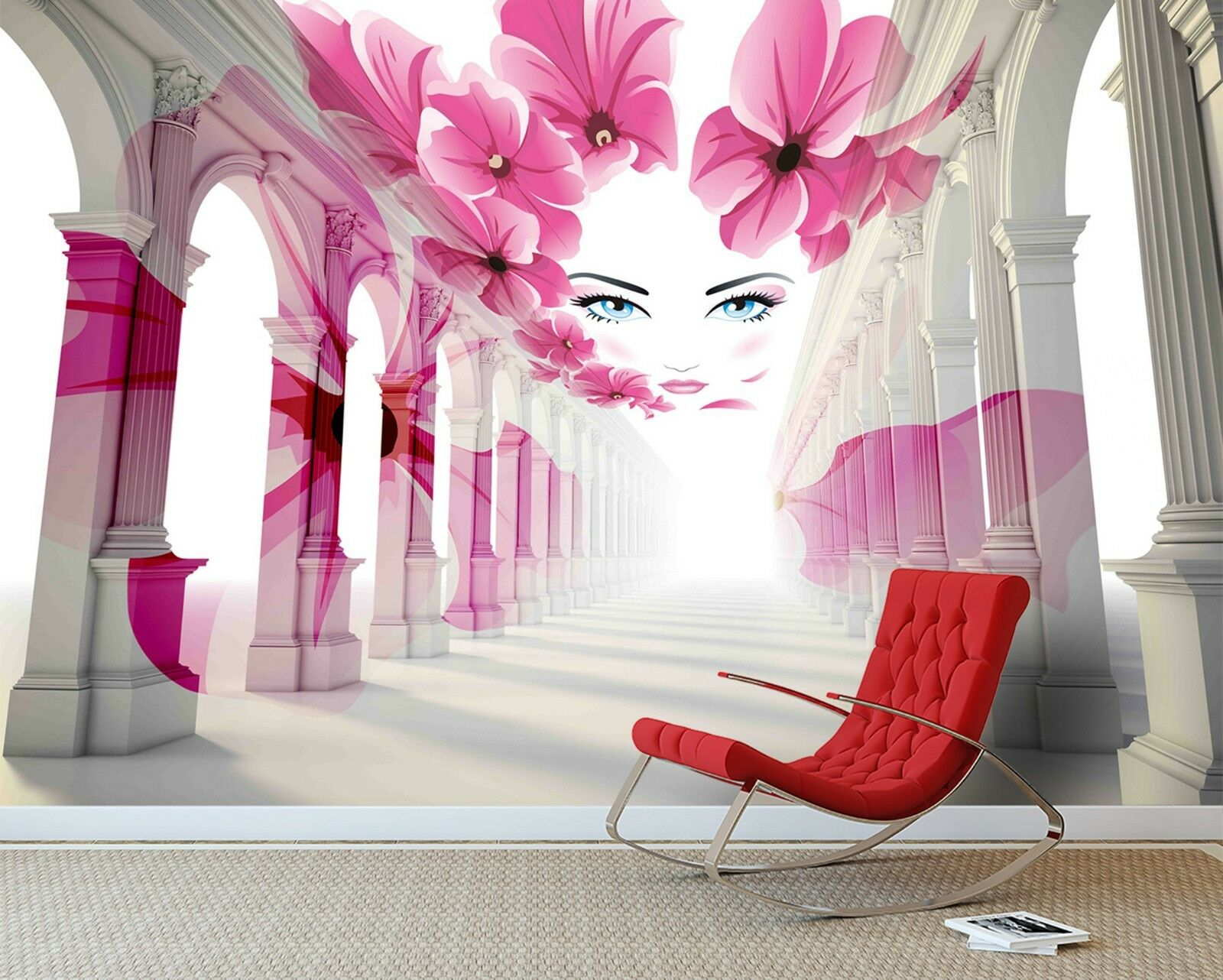 3D Female face flowers paint Wall Paper Print Decal Wall Deco Indoor wall Mural