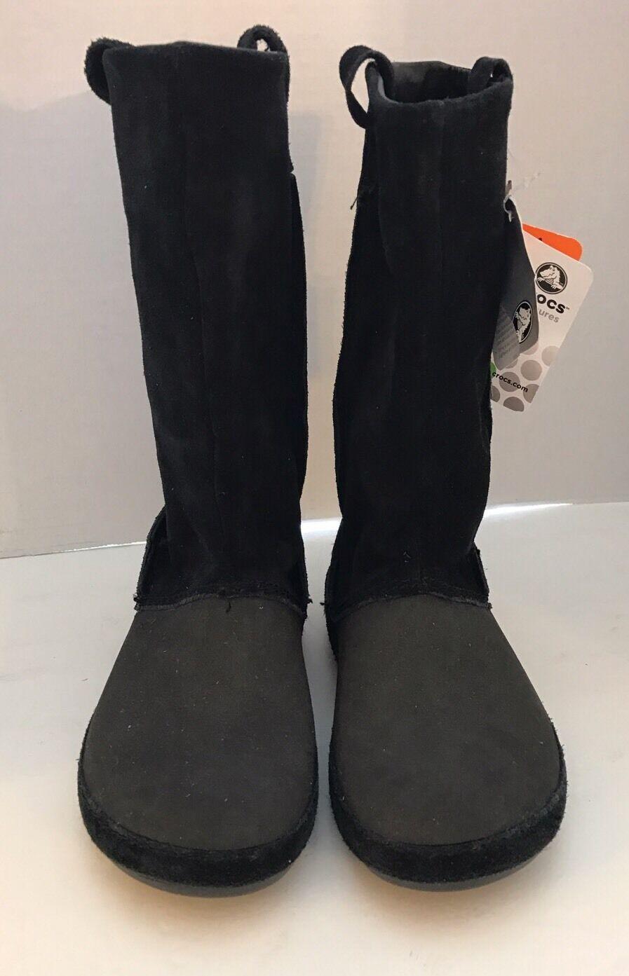 New Crocs Berryessa Boots Black Leather Suede  Suede Women Boots Sz 4