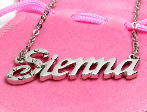 Name Necklace SIENNA 18ct White Gold Plated Custom Personalised Jewellery