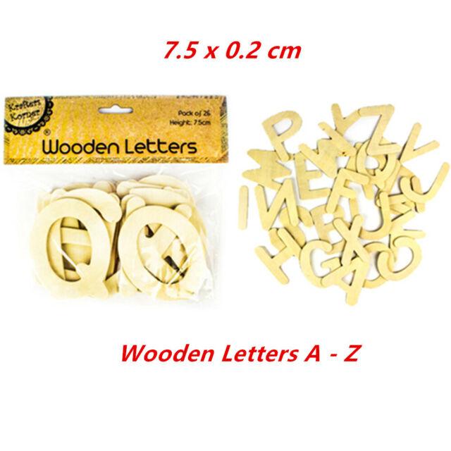 Wooden Alphabet Letters 7.5x0.2cm Wood Craft Kraft Words Name Home Room Decor