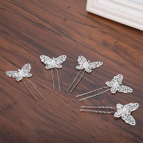 Girls Butterfly Crystal Rhinestone Wedding Bridal Hair Pin Clips Accessories