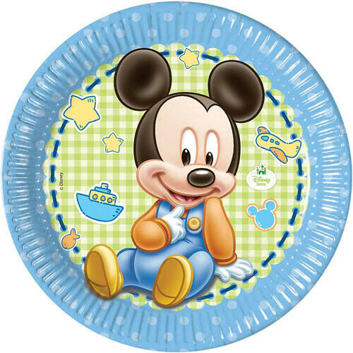 8 MICKEY MOUSE 1st BIRTHDAY ROUND LARGE PAPER PLATES ~ First Party Supplies