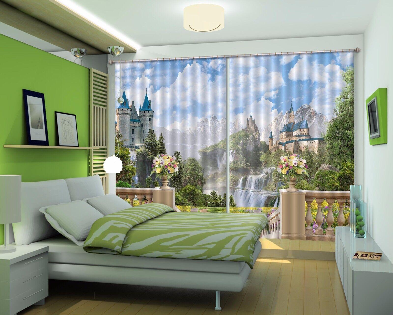3D Vista del castillo 6 Cortinas de impresión de cortina de foto Blockout Tela Cortinas Ventana CA