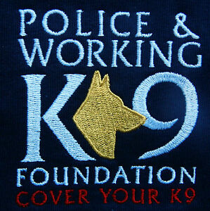 T-Shirt-Police-amp-Working-K-9-Found-Embroidered-Police-Dog-Logo-Navy-100-Cotton