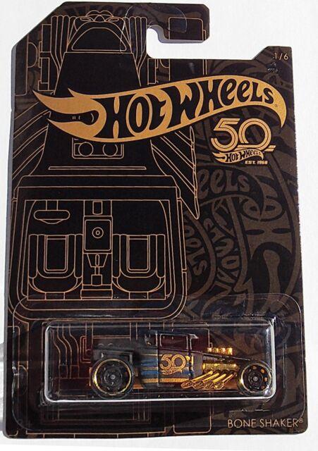 2018 Hot Wheels 50th Anniversary Black /& Gold Bone Shaker CORRECTED Error Card