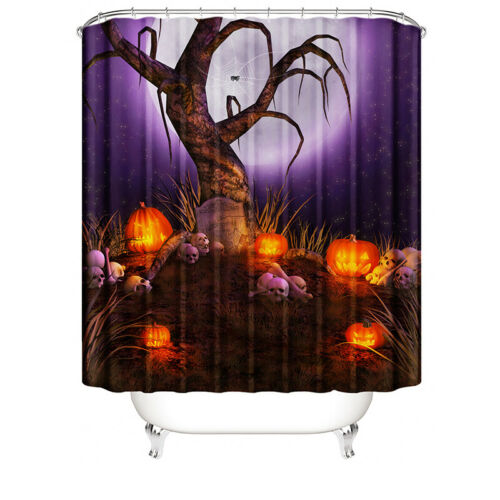 4PCS//Set Halloween Waterproof Bathroom Shower Curtain Bath Toilet Cover Mat