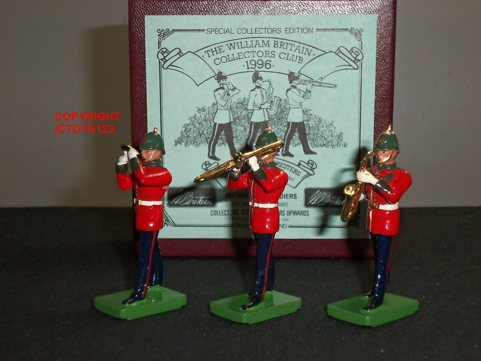 BRITAINS COLLECTORS CLUB SHERWOOD FORESTERS BAND FIFE SAXOPHONE TROMBONE SET