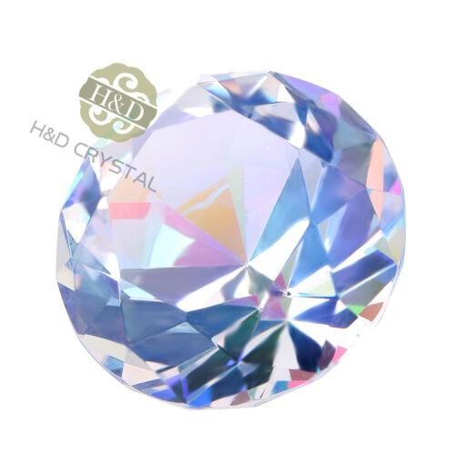 1pcs AB Coating Crystals Wedding Decoration Glass Diamond Pawerweight Gift 40mm