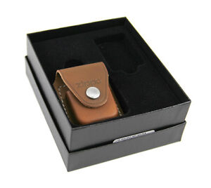 Zippo Lighter Gift Set w/ Brown Leather Pouch LPGS-LPCB