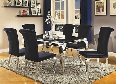 Swell Modern Glam Carrara Chrome Metal Glass Top Black Tint Velvet Machost Co Dining Chair Design Ideas Machostcouk