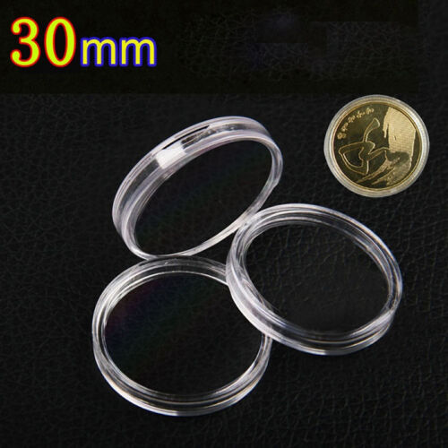 10× 30mm Applied Clear Round Cases Coin Storage Boxes Capsules Holder Plastic AW