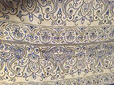 Vintage 100% Silk Satin Blend Blue Tassel Embroider Indian Sari Saree Fabric