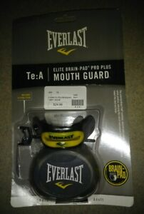NEW-Everlast-Elite-Brain-Pad-Pro-Plus-Mouth-Guard-Mouthguard-Black-amp-Yellow