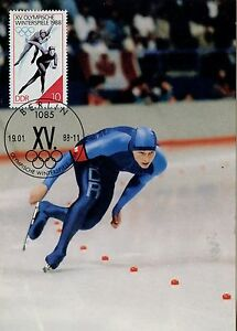CARTE-POSTALE-MAXIMUM-GERMANY-ALLEMAGNE-SPORT-OLYMPIADE-1988-PATINAGE