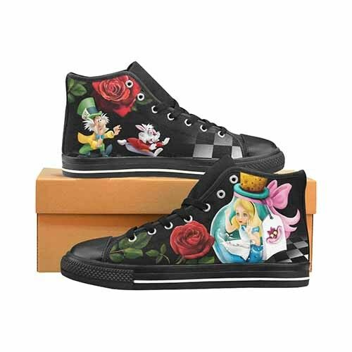 Alice In Wonderland Down The Rabbit Hole Uomo's Classic High Top Canvas Shoes
