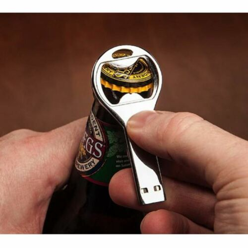 Gadget cool cadeau argent USB 8GB mémoire Flash Stick Couronne bouteille ouvreur Keyring
