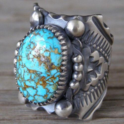 Vintage Blue Turquoise Ring Tibetan Silver 925 Men Women Band Jewelry Xams Gift