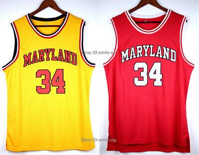 VTG Len Bias #34 Maryland University Basketball Jersey yellow red ...